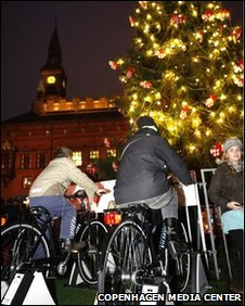 Pedal Power lights christmas Tree in Copenhagen