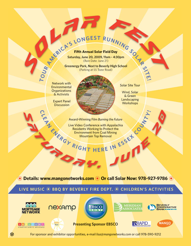 Solar Fest, June 20 at Greenergy Park (Next to Beverly High School).